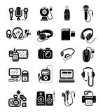 Digital devices in black colour icons set Stock Photography