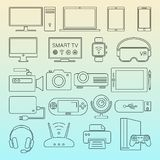 Digital devices black line icons isolated set stock illustration