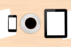 Digital Devices and Blank Papers with Coffee Royalty Free Stock Photos