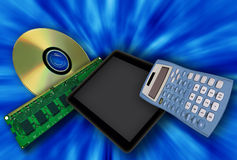 Digital devices on a blue background Royalty Free Stock Images