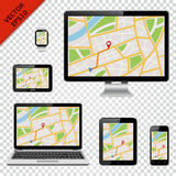 Digital devices with GPS map on screen Stock Photography