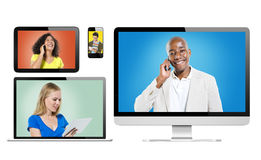 Digital Devices with Portrait of People Using Devices Royalty Free Stock Photography