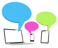 Digital Devices With Speech Bubbles Stock Photography