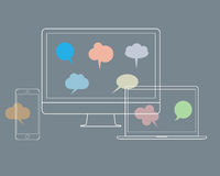 Digital devices with speech bubbles. Vector set Stock Photography