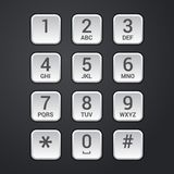 Digital dial plate of security lock or telephone keypad vector. Illustration Royalty Free Stock Photos
