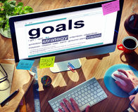 Digital Dictionary Goals Strategy Vision Concept Stock Photos