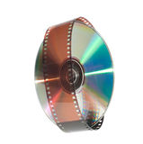 Digital disc and a film strip royalty free stock photo