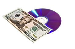 Digital disc and money Stock Photo