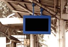 Digital display board at train station. Blank digital display board at train station royalty free stock photos