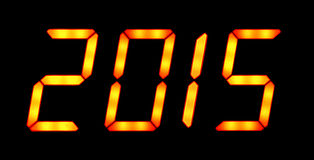 Digital display shows 2015. Digital display shows the date of the New Year 2015 on the black background Stock Photography