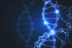 Digital DNA background. Glowing digital DNA background. Medicine concept. 3D Rendering Stock Photos