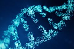 Digital DNA molecule, structure. Concept binary code human genome. DNA molecule with modified genes. 3D illustration. Digital DNA molecule, structure. Concept royalty free stock image