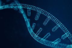 Digital DNA molecule, structure. Concept binary code human genome. DNA molecule with modified genes. 3D illustration. Digital DNA molecule, structure. Concept royalty free stock photos