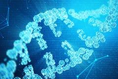 Digital DNA-Molekül, Struktur Menschliches Genom des Konzeptbinär code DNA-Molekül mit geänderten Genen Abbildung 3D lizenzfreie abbildung