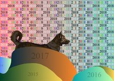 Digital dog of 2018. The digital gray dog from this year looks with hope in the coming new 2018 Royalty Free Stock Images