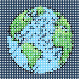 Digital dot of world blue background Stock Image