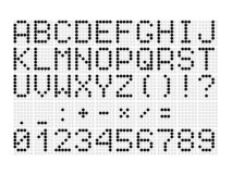 Digital dotted font with letters, numbers, mathematical symbols and punctuation marks for digital scoreboard royalty free stock photos