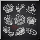 Digital drawing bakery icon set on black Stock Photography