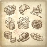 Digital drawing bakery icon set Stock Images