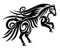 Digital drawing of black tribal horse silhouette. Isolated on white Stock Photos