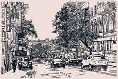 Digital drawing of city traffic, engraving style Stock Image