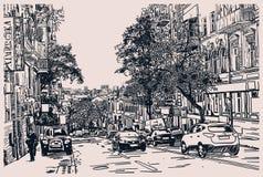 Digital drawing of city traffic, engraving style. Vector illustration stock illustration