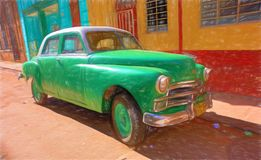 Digital drawing of a classic American car in the streets of old Havana, Cuba. royalty free stock photo