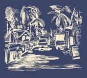 Digital drawing of India Goa Calangute Baga landscape street, t Stock Photos