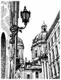 Digital drawing of Lviv (Ukraine) historical. Avenue, vector illustration Royalty Free Stock Photography