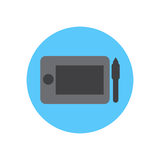 Digital drawing tablet flat icon. Round colorful button, circular vector sign, logo illustration. Stock Photography