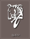 Digital drawing of tribal head horse silhouette,. Symbol of 2014 year, vector illustration Stock Photography