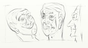 Digital drawing in wide screen format, figurative, minimalist, delicate and fast, human faces interacting side by side. `Thirst` series by the Brazilian artist Royalty Free Stock Photo