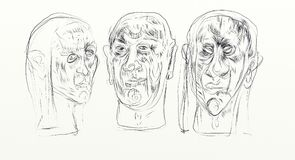 Digital drawing in wide screen format, figurative, minimalist, delicate and fast, human faces interacting side by side. `Thirst` series by the Brazilian artist Royalty Free Stock Photography