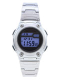 Digital Dress Watch with blue face. On white stock photos