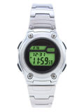 Digital Dress Watch with green face. On white stock images