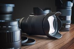 Digital DSLR camera, lenses and other equipment. stock image