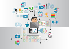 Digital e-health concept as  illustration. Cartoon person connected to online doctor and hospital Stock Photo
