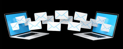 Digital e-mails flying through devices screens 3D rendering Royalty Free Stock Image