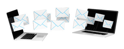 Digital e-mails flying through devices screens 3D rendering Royalty Free Stock Photography