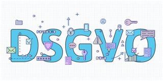 Digital e simboli di Internet davanti alle lettere di DSGVO Regolamento generale di protezione dei dati GDPR, RGPD, DSGVO Concett illustrazione di stock