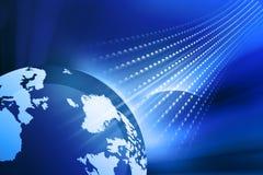 Digital Earth with fiber optics. On blue background vector illustration