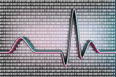 Digital ECG code. Binary code and a ECG line. 3D rendered Illustration Royalty Free Stock Photo