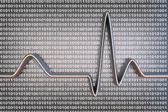 Digital ECG code. Binary code and a ECG line. 3D rendered Illustration Royalty Free Stock Image
