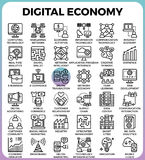 Digital economy concept icons. Digital economy business concept detailed line icons set in modern line icon style for ui, ux, website, web, app graphic design Stock Image