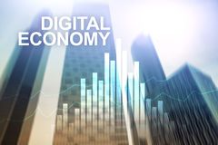 DIgital economy, financial technology concept on blurred background.  vector illustration