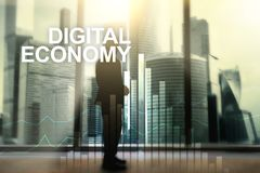 DIgital economy, financial technology concept on blurred background.  royalty free illustration