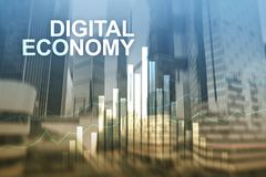 DIgital economy, financial technology concept on blurred background.  stock photos