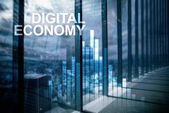 DIgital economy, financial technology concept on blurred background.  stock photography
