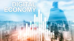 DIgital economy, financial technology concept on blurred background.  royalty free stock photos