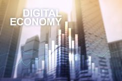 DIgital economy, financial technology concept on blurred background.  royalty free stock photography
